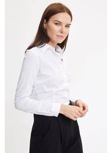 DeFacto Uzun Kollu Gömlek Beyaz